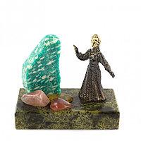 """Бронзовая статуэтка """"Хозяйка Медной Горы"""" из камня змеевика и амазонита"""