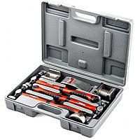 Набор рихтовочный, 3 молотка с фибергласовыми ручками, 4 наковальни, в пласт. боксе (10845)