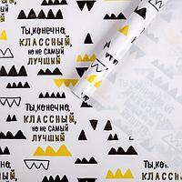 Бумага упаковочная глянцевая «Ты классный, но», 70 х 100 см