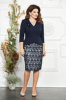 Женское осеннее кружевное синее нарядное большого размера платье Mira Fashion 4850-2 50р.