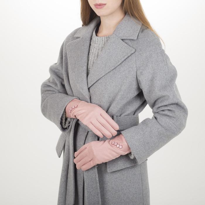 Перчатки жен, 23,5 см, утеплитель иск мех, манжет 4 пуговицы, розовый