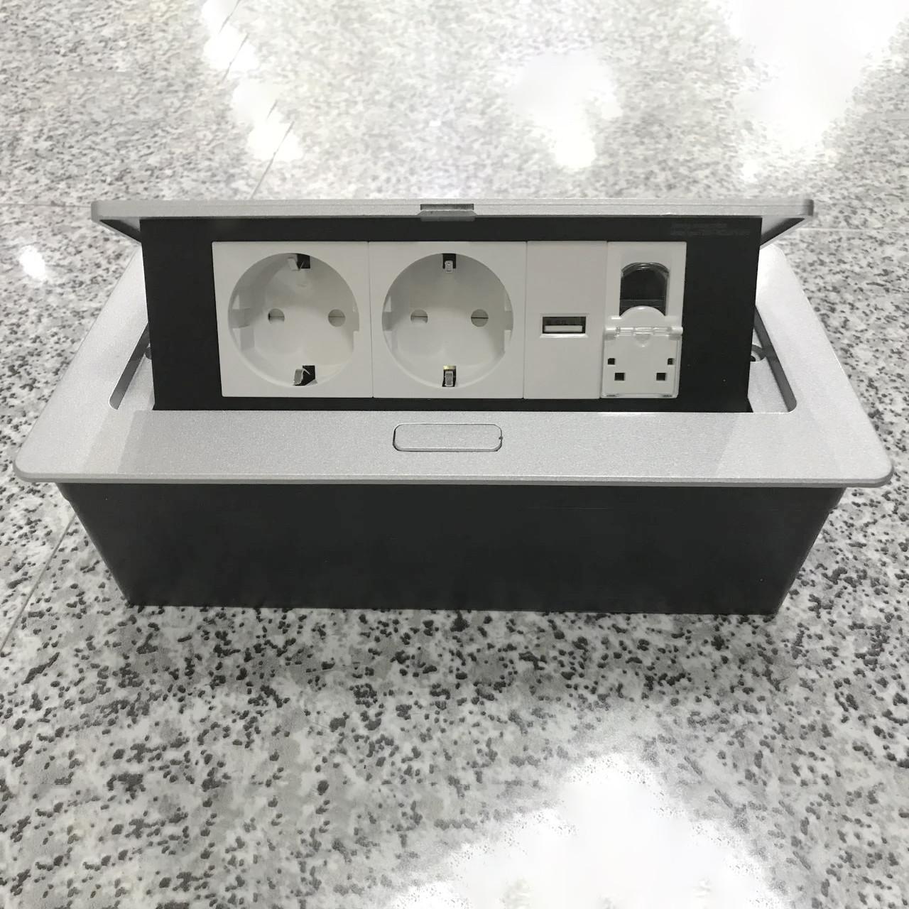 Встроенная розетка в стол, столешницу, офис Серебро