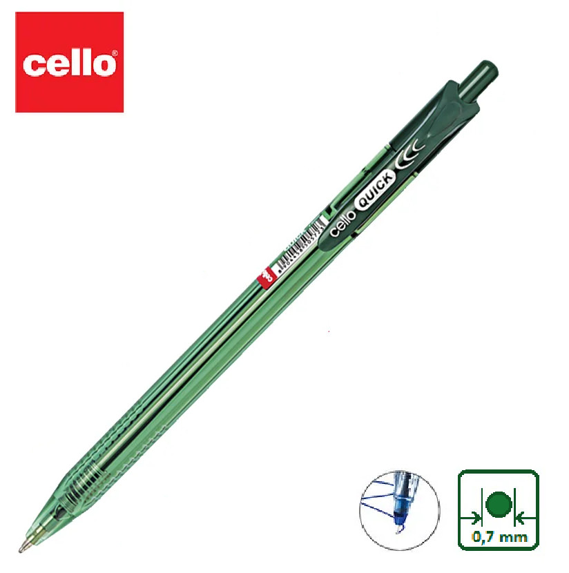 Ручка шариковая Cello Quick автомат, зеленый