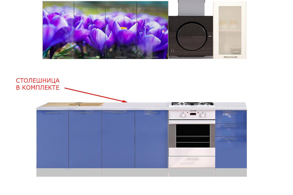 Комплект мебели для кухни Подснежник МДФ фотопечать 1800, Рисунок Светлый, Стендмебель(Россия)