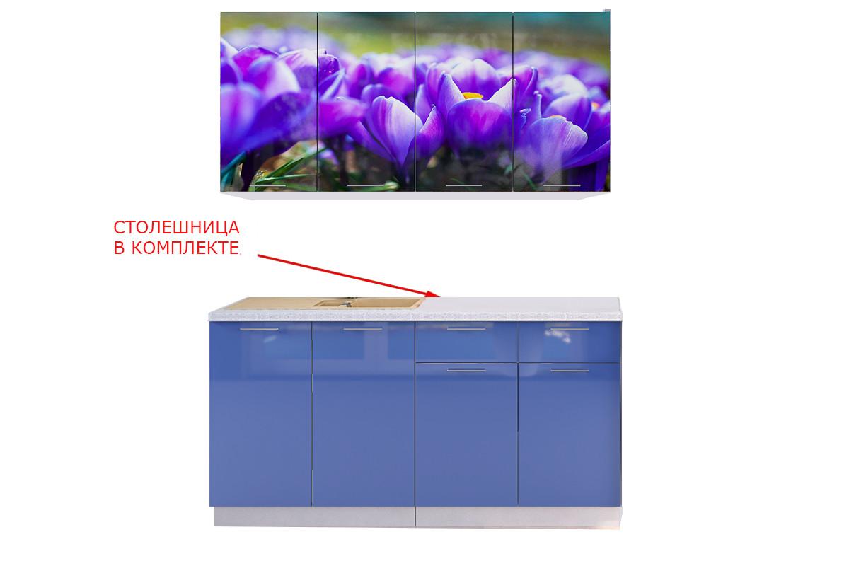 Шкаф кухонный 800, 2Д  как часть комплекта Подснежник МДФ фотопечать, Рисунок Светлый, Стендмебель (Россия)