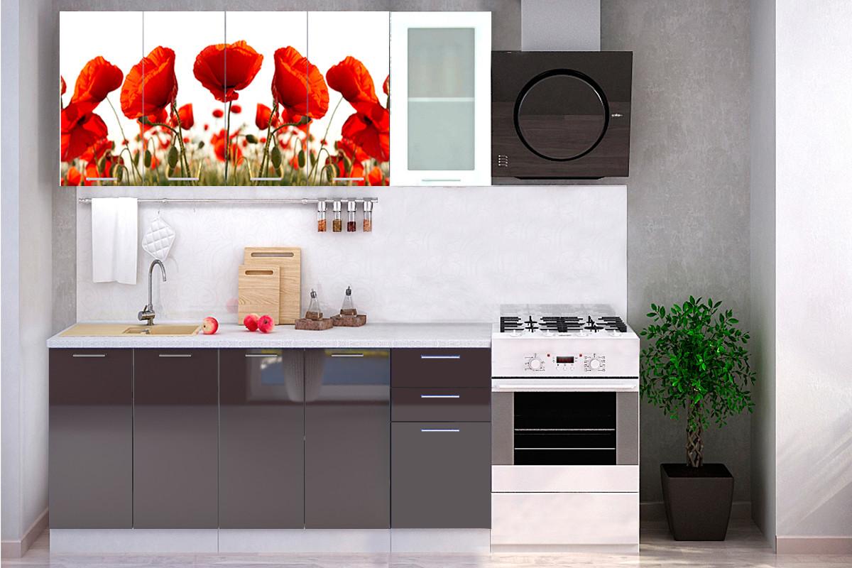 Комплект мебели для кухни Маки МДФ фотопечать 1800, Рисунок Светлый, Стендмебель(Россия)