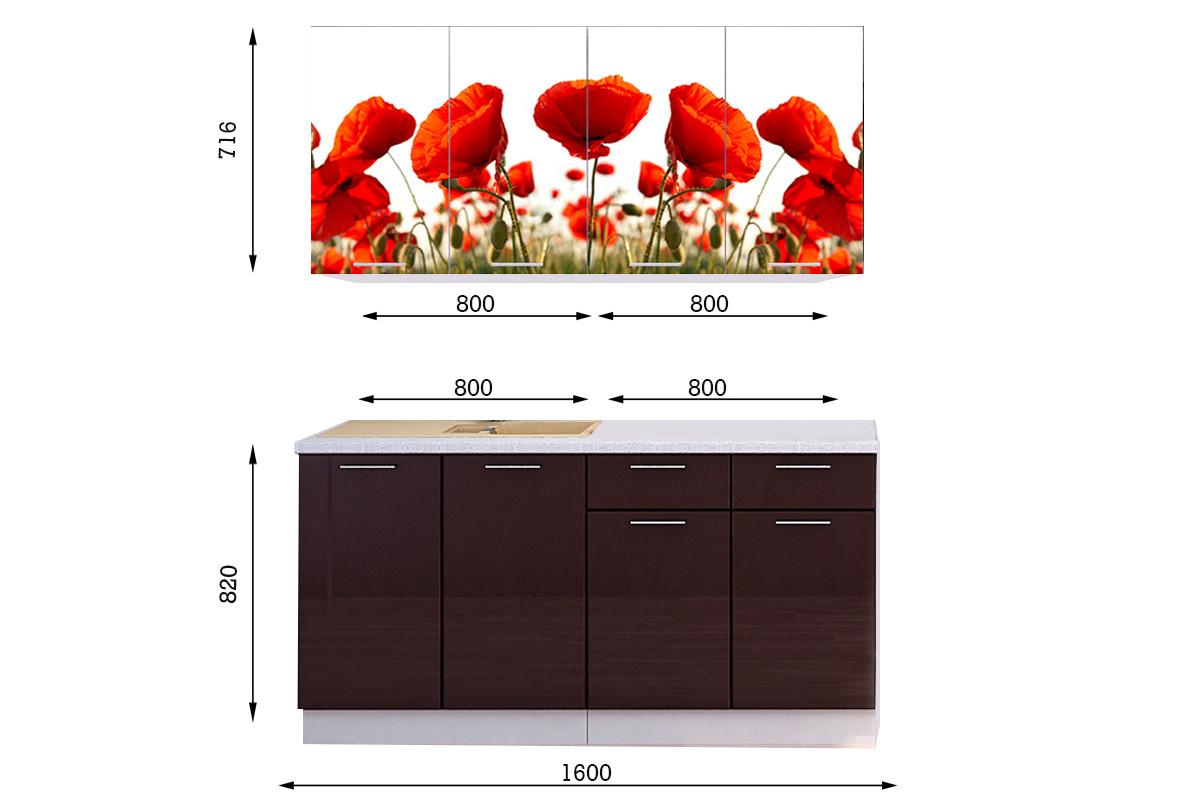 Комплект мебели для кухни Маки МДФ фотопечать 1600, Рисунок Светлый, Стендмебель(Россия)