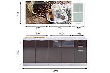 Комплект мебели для кухни Кофе МДФ фотопечать 2000, Рисунок Темный, Стендмебель(Россия), фото 2