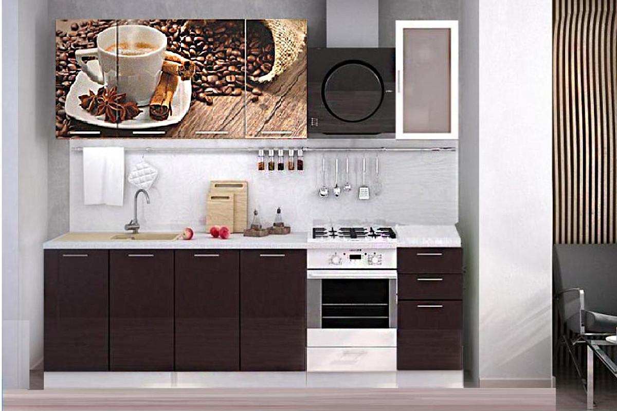 Комплект мебели для кухни Кофе МДФ фотопечать 2000, Рисунок Темный, Стендмебель(Россия)
