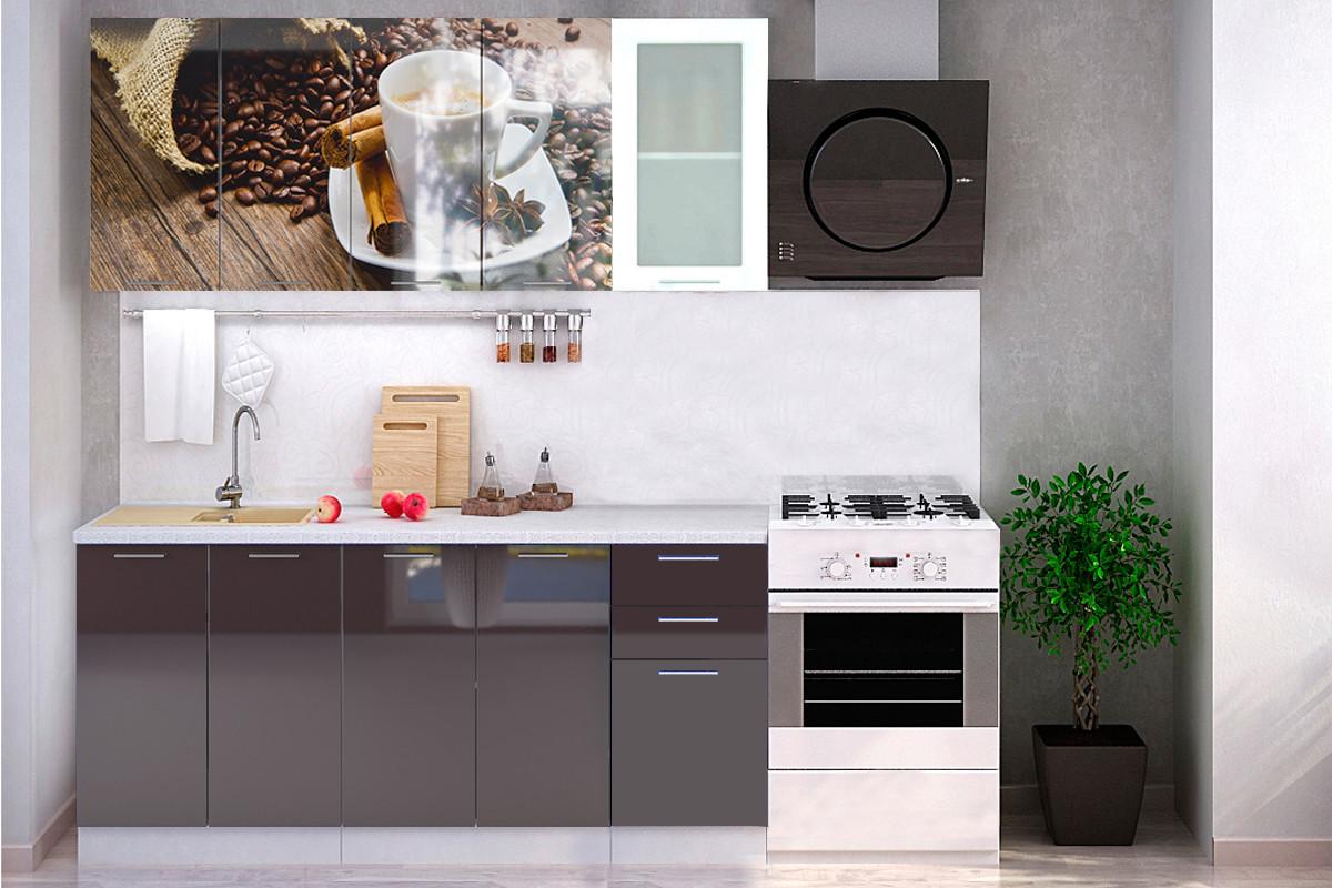 Комплект мебели для кухни Кофе МДФ фотопечать 1800, Рисунок Темный, Стендмебель(Россия)