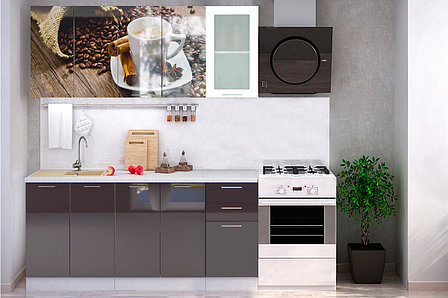 Комплект мебели для кухни Кофе МДФ фотопечать 1800, Рисунок Темный, Стендмебель(Россия), фото 2