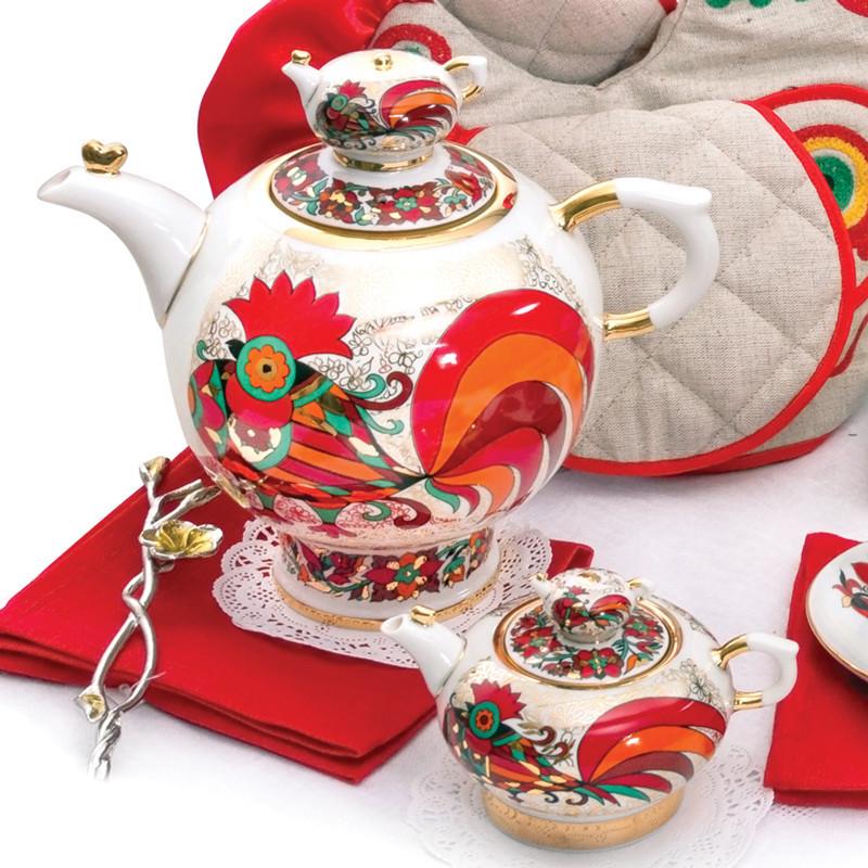 Комплект чайников Красный петух. Императорский фарфор, Санкт-Петербург