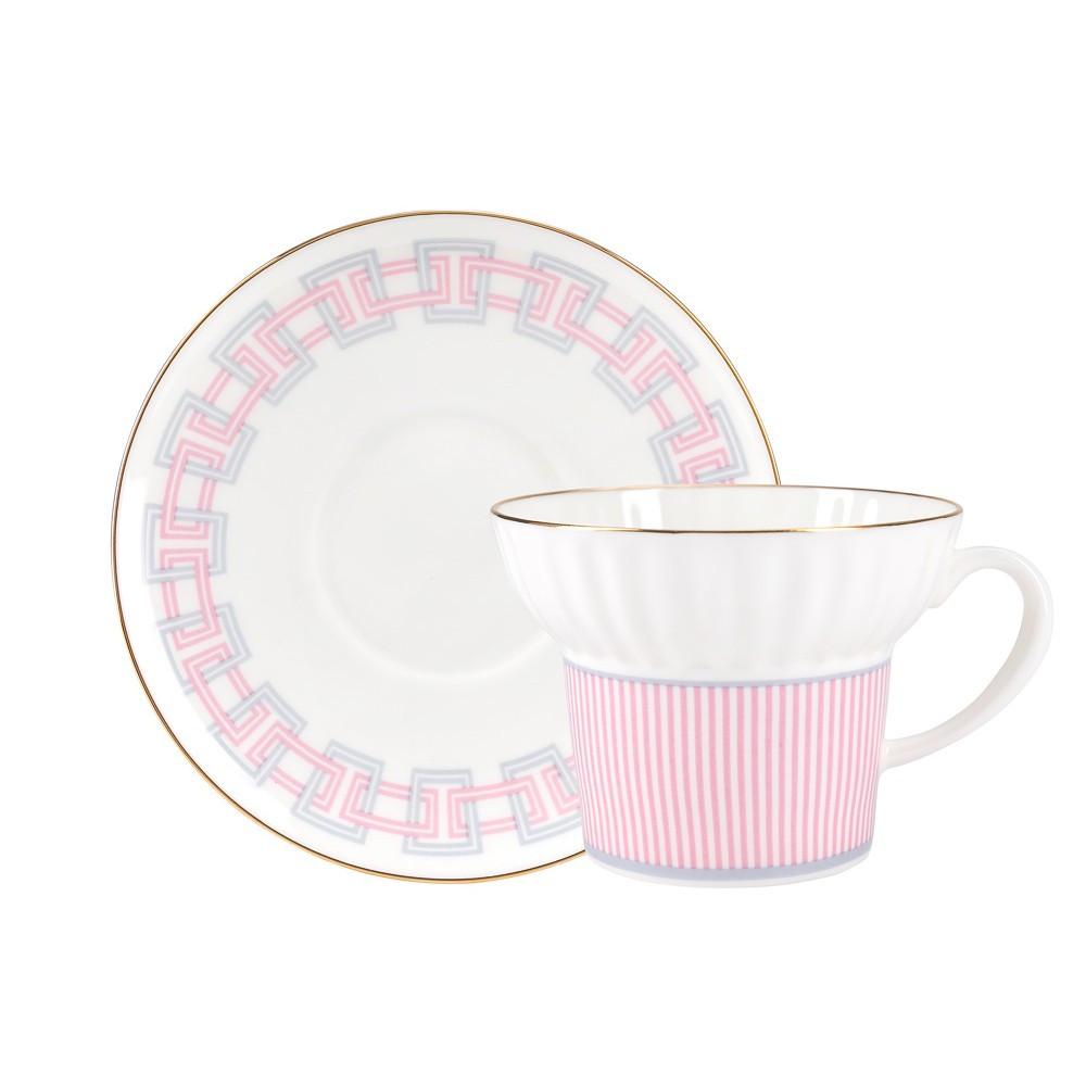 Чашка с блюдцем Геометрия-5. Костяной фарфор, авторская работа