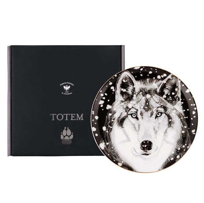 Декоративная тарелка Волк. Ручная роспись, ИФЗ