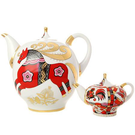Комплект чайников Красный конь. Императорский фарфор, Санкт-Петербург