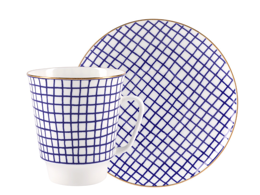 Чашка с блюдцем кофейная Tweed. Костяной фарфор, авторская работа