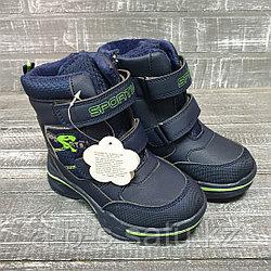 Ботинки черные на двух липучках с зелеными вставками