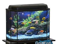 Аквариум GoldFish, панорама 30 литров с крышкой и люминесцентной лампой