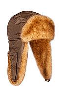 Шапка ушанка зимняя Куница цвет Бронза ткань Taslan