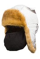 Шапка ушанка зимняя с маской Детская Евро Куница цвет Белый лес (кусты) ткань Cat's Eye