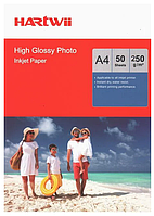 Фотобумага А4 250г Hartwii 2х сторонний глянец(50)