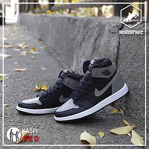 Культовые кроссовки Air Jordan 1 Retro Black\Gray, фото 2