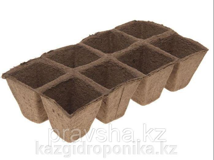 """Торфяной горшочек 7х7 см """"Квадратный"""", блок 8 шт"""
