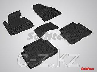 Резиновые коврики с высоким бортом для Hyundai Santa Fe III 2012-2018