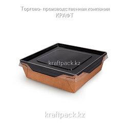 Контейнер, салатник с прозрачной крышкой Black Edition 900мл 135*135*55 DoEco (50/150)