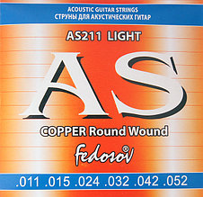 Комплект струн для акустической гитары, медь, 11-52, Fedosov AS211 Copper Round Wound