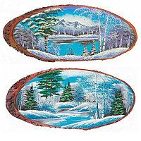 """Панно на срезе дерева """"Зима"""" горизонтальное 85-90 см каменная крошка"""