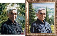 Мужской портрет маслом на фоне пейзажа . Выполнен по фотографии.