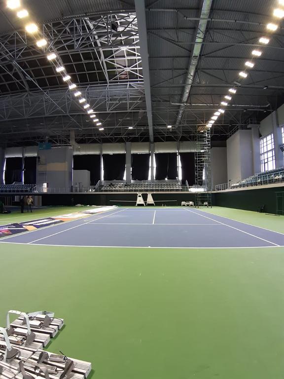 Освещение теннисного корта спорт комплекс Даулет
