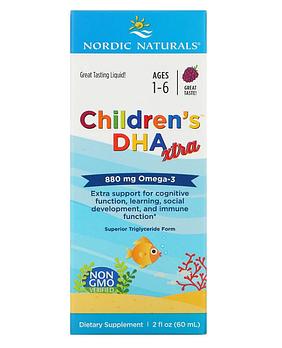 Nordic Naturals, Children's DHA Xtra, для детей возрастом 1–6 лет, ягодный вкус, 880 мг, 60 мл (2 жидк. унции)