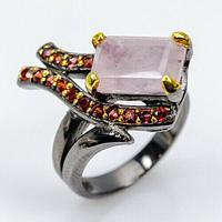 Серебряное кольцо с МОРГАНИТОМ (натуральный!!), серебро 925 пр. Размер 18