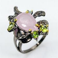 Серебряное кольцо с МОРГАНИТОМ (натуральный!!), серебро 925 пр. Размер 18,25