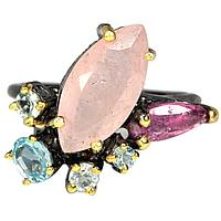 Серебряное кольцо с МОРГАНИТОМ (натуральный!!), серебро 925 пр. Размер 17,75