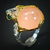 Серебряное кольцо с МОРГАНИТОМ (натуральный!!), серебро 925 пр. Размер 18,5