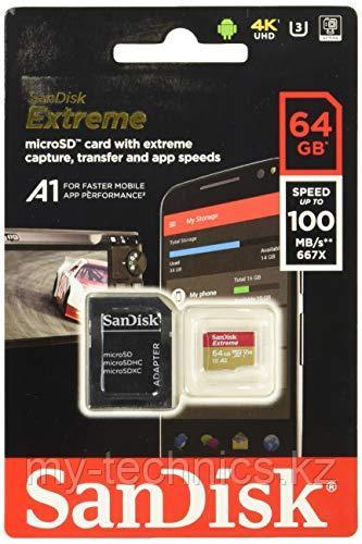 Карта памяти SanDisk MicroSDHC Extreme  64Gb Class 10 100MB/s
