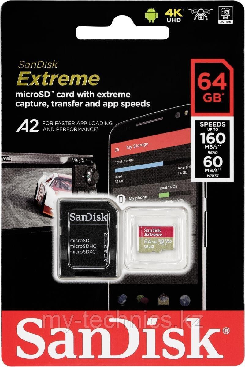 Карта памяти SanDisk MicroSDHC Extreme  64Gb Class 10 160MB/s