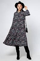 Женское осеннее шифоновое синее большого размера платье La rouge 5336 48р.