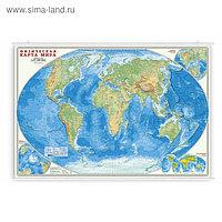 Карта Мира физическая настенная на рейках, 101 х 69 см, ламинированная, 1:27.5 млн.