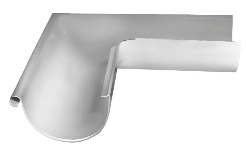 Угол желоба внешний 90 гр 125 мм RAL 9003 Белый