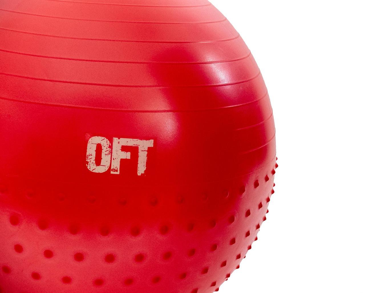 Гимнастический мяч 65 см с массажным эффектом красный - фото 2