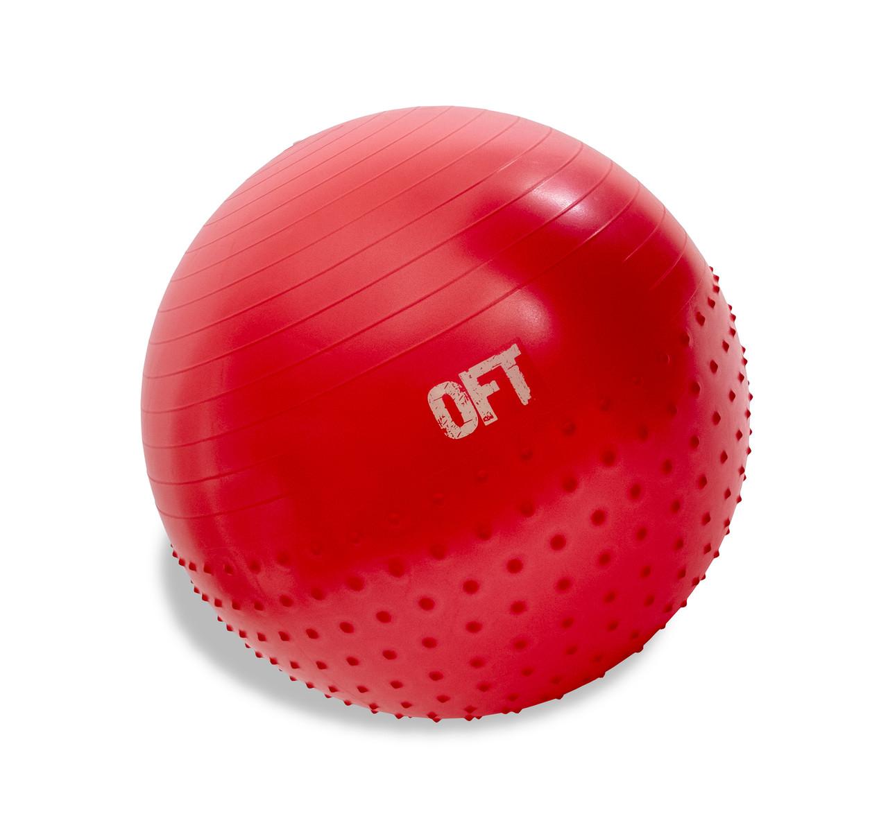 Гимнастический мяч 65 см с массажным эффектом красный - фото 1