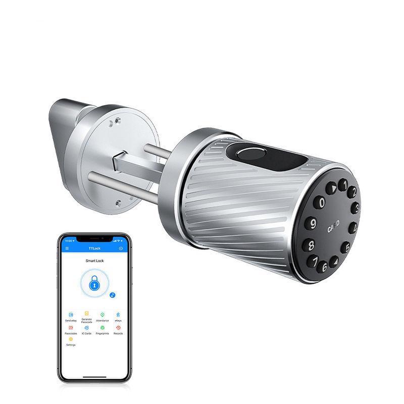 Замок дверной цилиндрический с отпечатками пальцев, кодом, картам, Bluetooth для жилых помещений SmartLock-C10