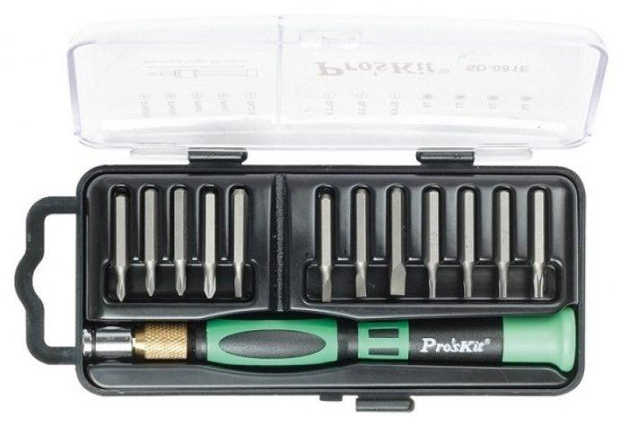 SD-081E Pro'sKit Отвертка прецизионная со сменными битами (12шт.)
