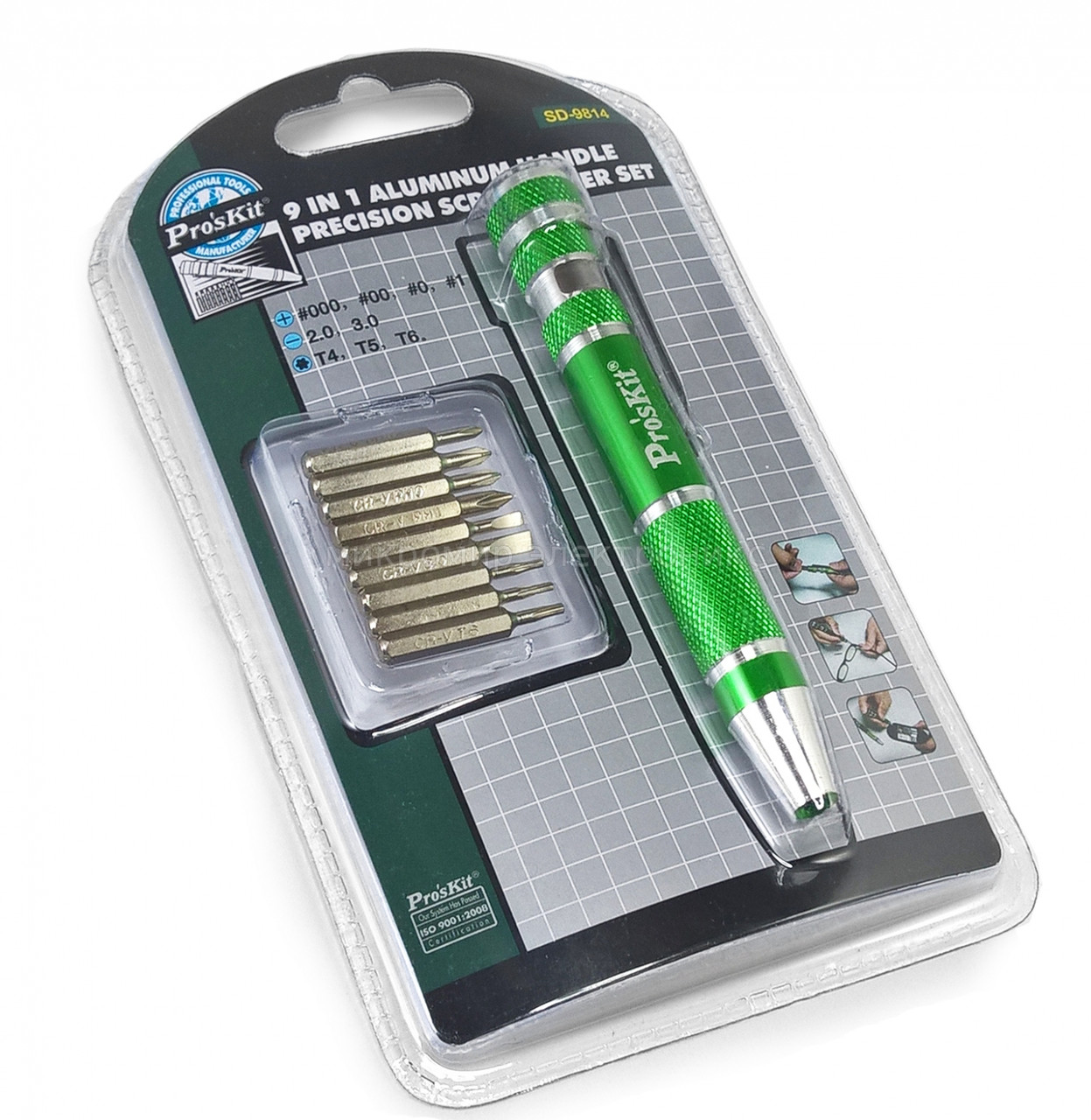 SD-9813M Pro'sKit Набор бит часовых (18шт., алюминиевая отвертка)
