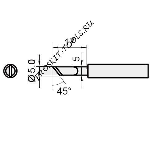 5SI-216N-K Pro'sKit Жало сменное (ножевидное, скос 45 град., диам. 5 мм)