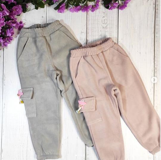 Флисовые тёплые штаны для девочек цвет розовый
